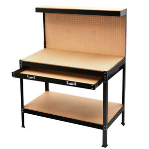 Wood Workbench Table Kit Diy Bench Custom Storage Garage Shop Workshop 3 Shelves