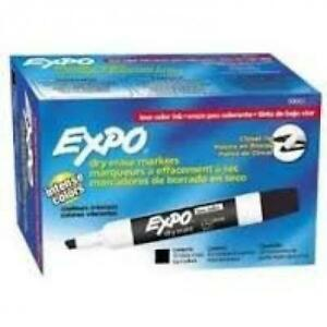 2 Packs Of 12 Low Odor Expo Dry Erase Markers Chisel Tip Black