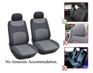 2 Front Bucket Fabric Car Seat Cover Compatible For Kia M1410 Gray