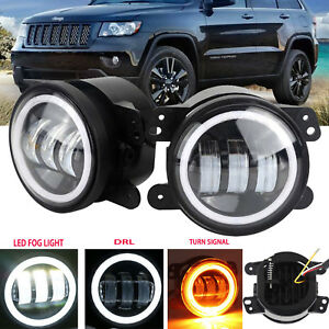 For Jeep Grand Cherokee 2011 2013 2pcs 4 Inch Led Halo Bumper Fog Light Bulb