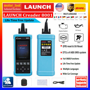Launch Cr8001 Car Auto Obd2 Scanner Tool Diagnostic Code Reader Abs Airbag Oil