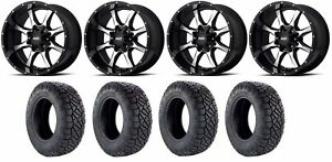 Set Of 4 Nitto 217 290 Tires Moto Metal Mo97029080300 Gloss Black Rims