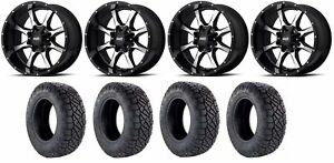 Set Of 4 Nitto 217 290 Tires Moto Metal Mo97029035318 Gloss Black Rims