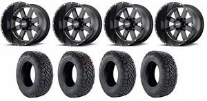 Set Of 4 Nitto 217 290 Tires Moto Metal Mo96229088300 Gloss Black Rims