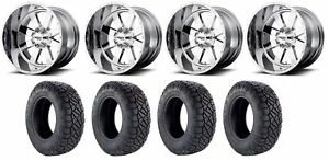 Set Of 4 Nitto 217 290 Tires Moto Metal Mo96229080200 Chrome Rims