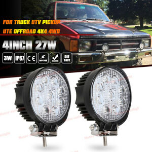 2x 4inch 27w Round Spot Led Work Light Fog For Truck Jeep Off Road Atv 4wd 4x4