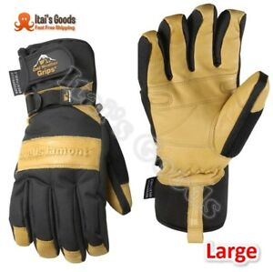 Mens Winter Gloves With Cowhide Palm Very Warm Waterproof Glove Insert Large