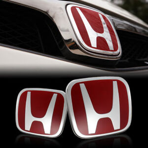 Red Jdm H Emblem 2pcs Set Front Rear For 08 17 Honda Accord Sedan 4door