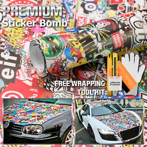 premium Sticker Bomb Vinyl Wrap Decal Film Graffiti Cartoon Jdm Usdm Diy 202