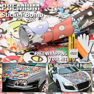 36 X60 Sticker Bomb Vinyl Wrap Decal Film Graffiti Cartoon Jdm Anime Diy 194