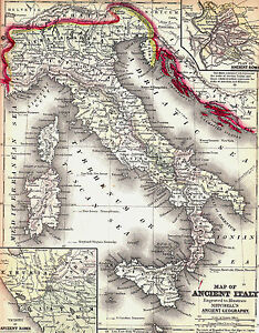 Original 1844 Hand Colored Antique Map Italy Florence Rome Milan Naples Venice