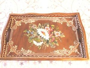 Antique Tole Painted Flowers Raised Accents French Country Wood Dresser Tray