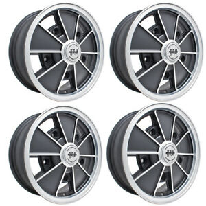 Brm Wheels Black With Silver Lip 5 Wide 5 On 205mm Vw Dunebuggy Vw