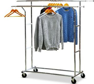 Clothing Garment Rack Caster Double Rail Wheel Rolling Laundry Metal Adjustable