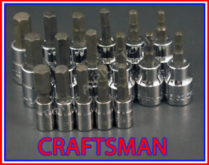 Craftsman 17pc 1 4 3 8 Sae Metric Hex Allen Key Bit Ratchet Wrench Socket Set