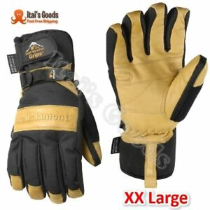 Mens Winter Gloves With Cowhide Palm Very Warm Waterproof Glove Insert Xx large