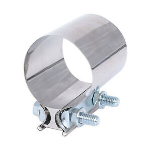 2 T304 Stainless Steel Butt Joint Band Exhaust Clamp New