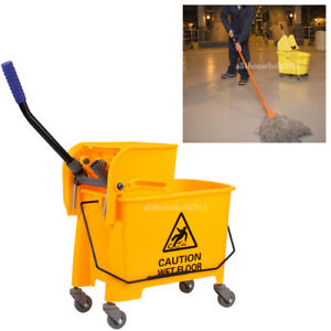 20l Commercial Heavy duty Wet Mop Bucket Wringer Combo Yellow