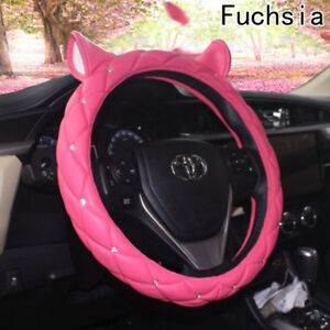 Pink Ear Design Leather Steering Wheel Cover Studded Rhinestone Covered For Girl