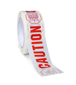 864 Rolls Caution Printed Carton Sealing Tape 2 Inch X 110 Yards 2 Mil