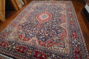 Vintage Persian Classic Floral Design Rug 9 X12 Blue Red All Wool Pile