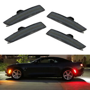 Smoked Lens Front Amber Rear Red Led Side Marker Lights For 2016 up Chevy Camaro
