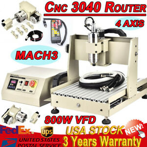 4 Axis 3040 Cnc Router Engraver 800w Engraving Drilling Machine Ball screw Mach3