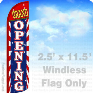 Grand Opening Windless Swooper Feather Flag Banner Sign 2 5x11 5 Stripes Z