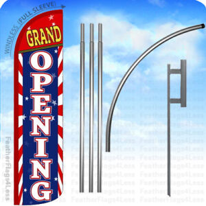 Grand Opening Windless Swooper Flag 15 Kit Feather Banner Sign Stripes Rz