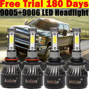 4x 9006 9005 Led Headlights Car Blubs Super Bright For Chevy Silverado 1500 2500