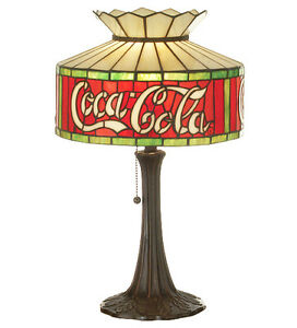 Coca Cola Coke Table Stain Glass Accent Lamp  20