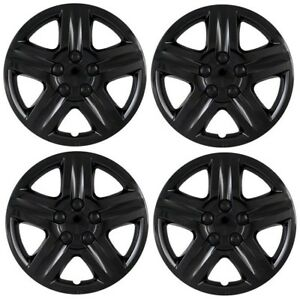 New Chevy Impala Monte Carlo 16 Black Hubcaps Wheelcover Replacement Set Of 4