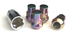 4 Neo Chrome 1 2 20 Lug Nuts Wheel Lock Acorn Cone Seat Key Most Ford Jeep Dodge