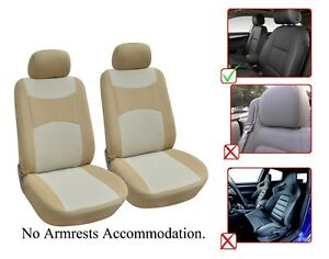 2 Front Bucket Fabric Car Seat Cover Compatible For Volkswagen M1410 Tan