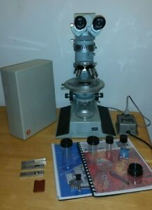 Zeiss Aus Jena Polarizing Microscope W Accessories Vintage Rare Complete