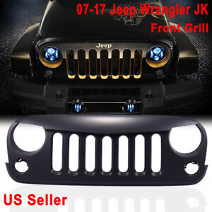 Matte Black Angry Bird Front Hood Grille Grille Grid 07 17 Jeep Wrangler Jk W2