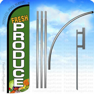Fresh Produce Windless Swooper Feather Flag 15 Kit Banner Sign Gz darker