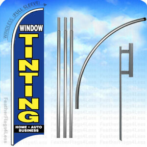 Window Tinting Windless Swooper Flag 15 Kit Feather Banner Sign Bb
