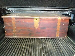 Vintage Large Wood Trunk With Metal Banding Rivets Free Bonus Baby Trunk