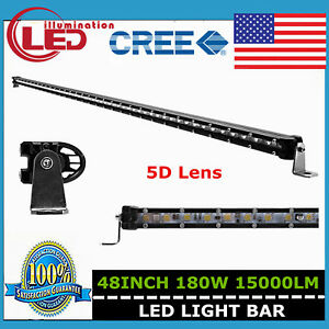 48 inch 180w Cree Led Super Slim Single Row Light Bar 5d Optical Boat Truck Lamp