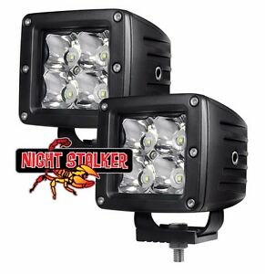 3 Square White Red Blue Green Night Stalker Color Led Cube Off Road Light Pair