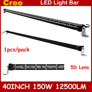 Slim 40inch 150w Single Row Led Light Bar 5d Optical Driving Lamp Boat Ford 4wd