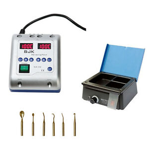 Dental 3 Well Melting Analog Wax Heater Pot electric Waxer Carving Pencil Knife