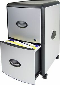Storex 2 drawer Mobile File Cabinet With Lock Metal Accent Panels 61351u01c