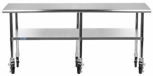 30 X 96 Stainless Steel Work Table W Casters Utility Prep Table On Wheels