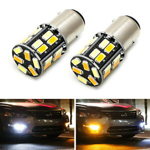 White Amber Dual Color Switchback 1157 2357 S25 Led Bulbs For Front Turn Signal