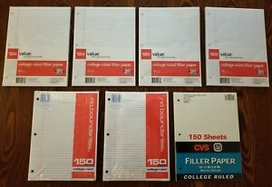 1050 Sheets College Ruled Filler Paper 10 5 X 8 3 hole Punched 7 Packs Of 150