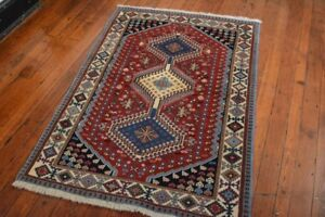 Tribal Persian Yalameh Design Rug 3 X5 Red Ivory All Wool Pile