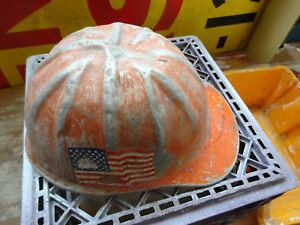 Vintage 1950 s 60 s Metal Aluminum Brim Safety Hard Hat Helmet