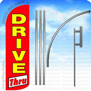 Drive Thru Windless Swooper Flag 15 Kit Feather Banner Sign Rq